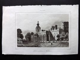 L'Univers C1850 Antique Print. Galerie gothique a Willanow, Poland